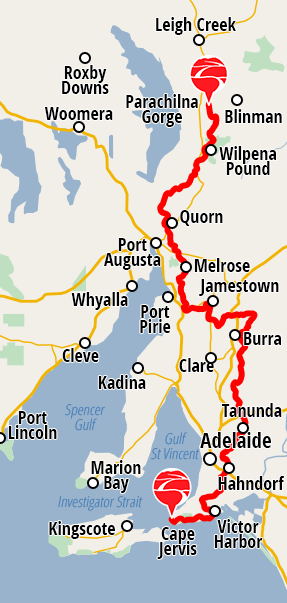 View Google Map of Heysen Trail map