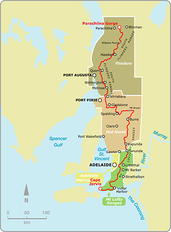 Map of the Heysen Trail showing Fire Ban Districts, including the Flinders Fire Ban District, Mid North Fire Ban District, Mt Lofty Ranges Fire Ban District.