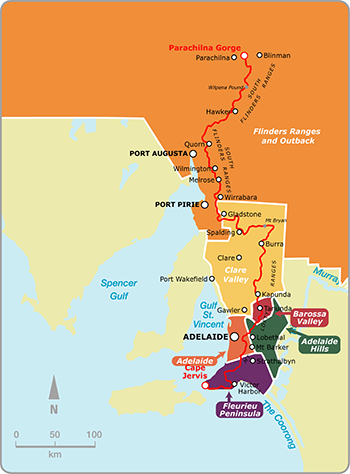Map showing relevant tourist regions the Heysen Trail passes through.