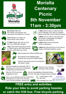 This Sunday 8th November – Morialta Centenary Picnic. 2 x Walks. Bid on Historic Images Auction