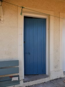 The newly repainted front door
