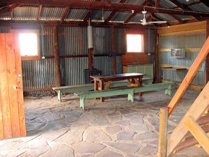 Interior of hut