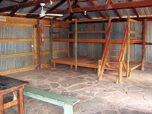 Interior of hut showing bunks