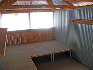 Inside of hut showing sleeping platform
