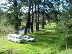 Riverside camping at the caravan park
