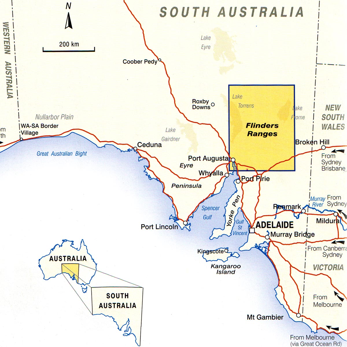 Map Canberra Australia.Flinders Ranges Map