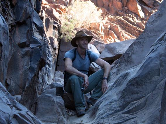 Artist Neil Frazer, at Secret Canyon