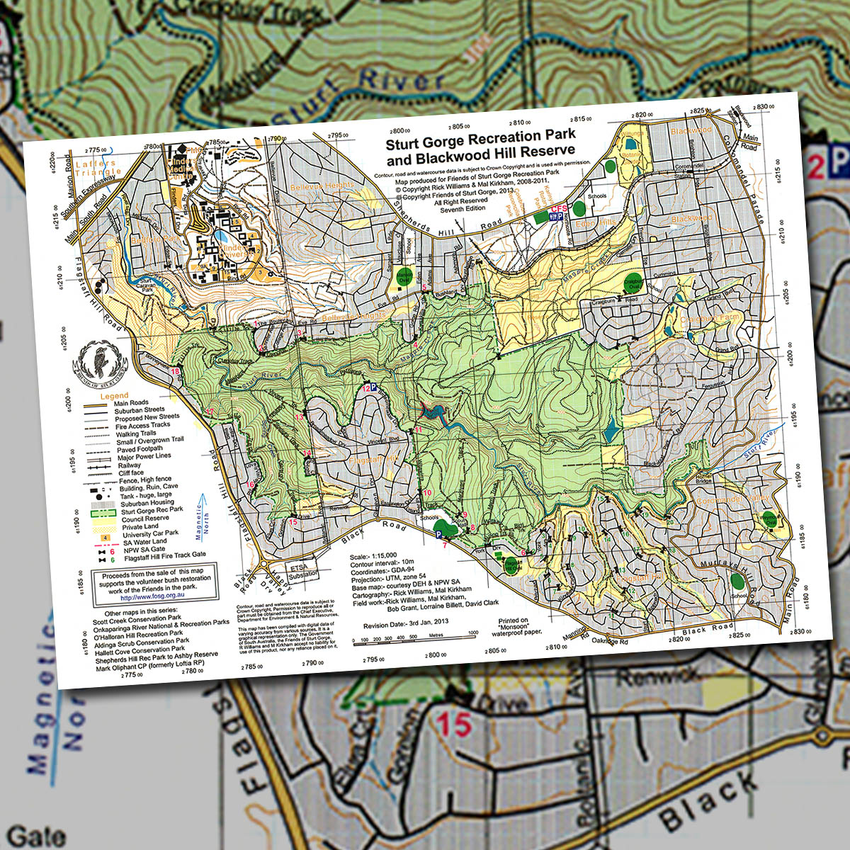 Sturt Gorge Recreation Map and Blackwood Hill Reserve topographic