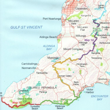 Coverage of map: Heysen Trail sheet map 1, Cape Jervis to Kuitpo Forest