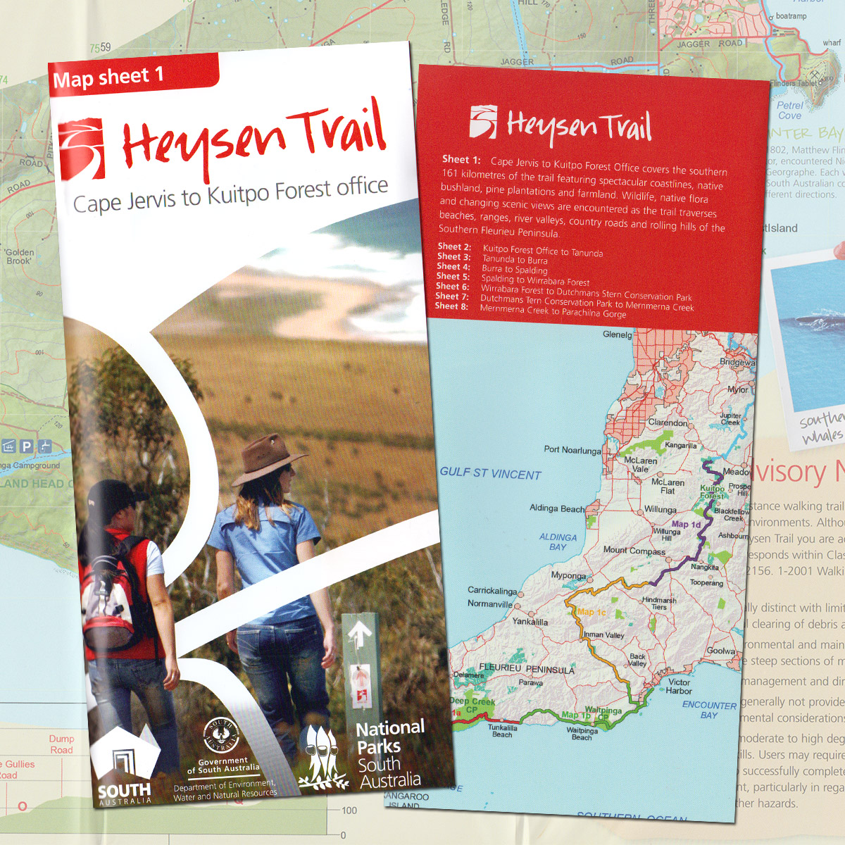 Heysen Trail sheet map 1 Cape Jervis to Kuitpo Forest  The