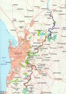 Coverage of map: Heysen Trail sheet map 2, Kuitpo Forest to Tanunda