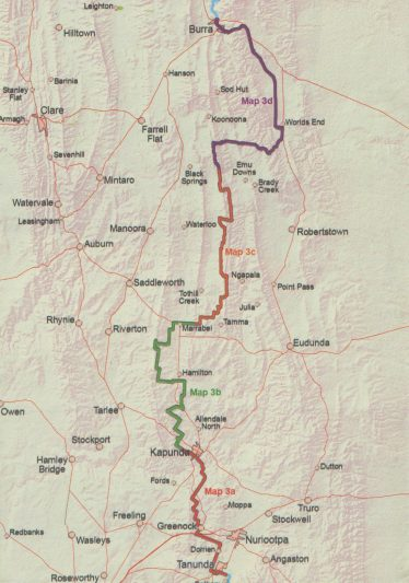 Coverage of map: Heysen Trail sheet map 3, Tanunda to Burra