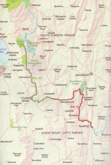 Coverage of Heysen Trail sheet map 5, Spalding to Wirrabara Forest map