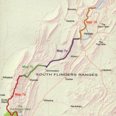 Coverage of this map: Heysen Trail sheet map 7, Dutchmans Stern Conservation Park to Mernmerna Creek