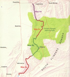 Coverage of this map: Heysen Trail sheet map 8, Mernmerna Creek to Parachilna Gorge