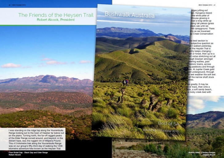 Bushwalk.com eMag October edition cover - Best South Australian Walks featuring Friends of the Heysen Trail