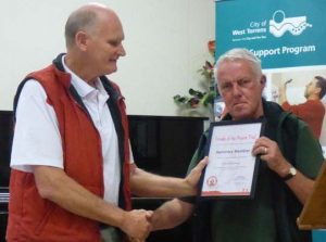 David Rattray being presented with Honourary Membership by Friends of the Heysen Trail President, Robert Alcock