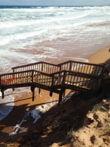 Steps at Waitpinga Beach following sand erosion