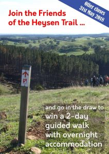 Join the Friends of the Heysen Trail before 31st May 2018.