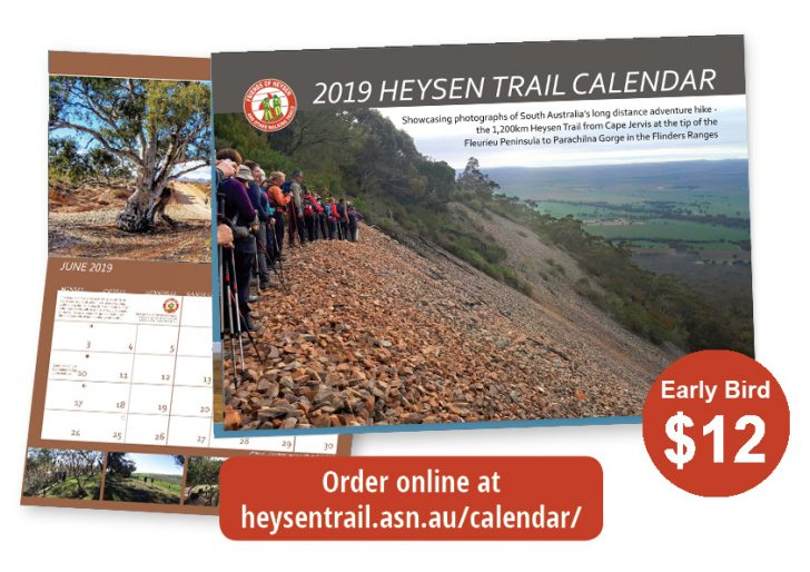 Reminder – Friends of the Heysen Trail 2019 calendar available for immediate delivery.